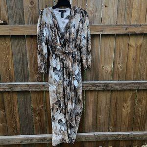 SZ 0 leopard print sheer maxi w/short skirt lining